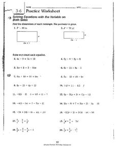 Solving Equations with the Variable on Both Sides Worksheet