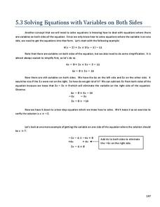 Solving Equations with Variables on Both Sides Handouts & Reference