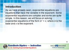 Solving Exponential Equations Presentation