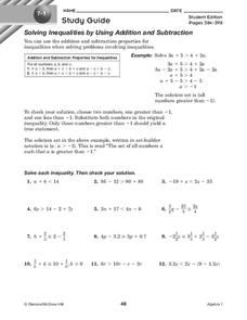Solving Inequalities by Using Addition and Subtraction Worksheet