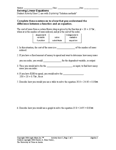 Solving Linear Equations Worksheet for 9th Grade   Lesson Planet