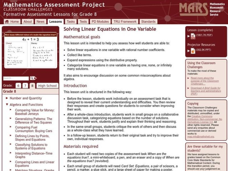 Solving Linear Equations in One Variable Lesson Plan