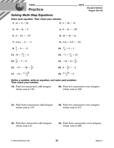 Solving Multi-Step Equations Worksheet for 8th - 9th Grade ...