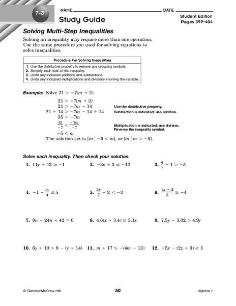 Solving Multi-Step Inequalities Worksheet for 9th Grade