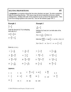 Solving Proportions Worksheet For 9th Grade Lesson Planet