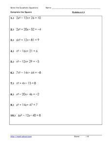 Solving Quadratic Equations Worksheet