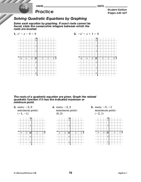 Solving Quadratic Equations by Graphing Worksheet for 9th ...