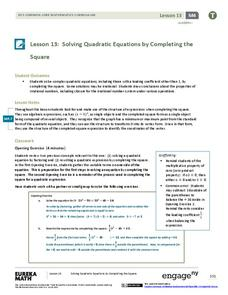 Solving Quadratic Equations by Completing the Square Lesson Plan