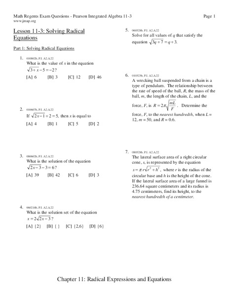 Radical Functions And Equations Lesson Plans Worksheets Lesson
