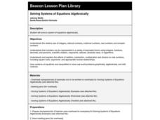 Solving Systems of Equations Algebraically Lesson Plan
