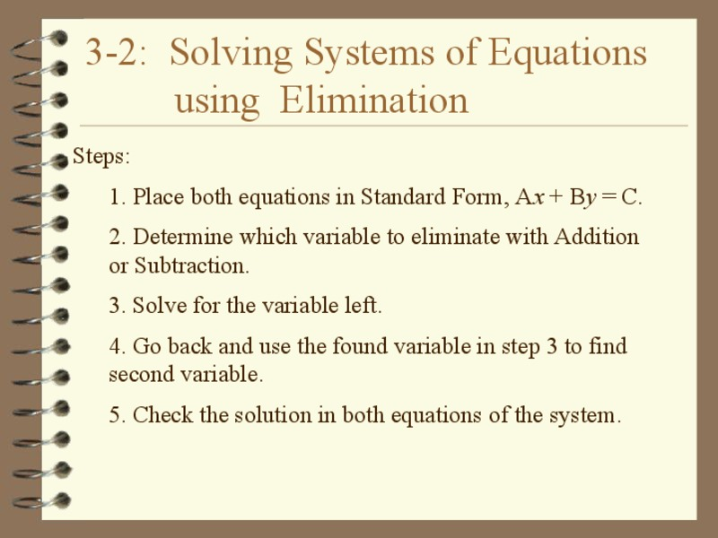 Solving Systems of Equations by Elimination Presentation