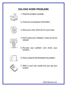Solving Word Problems Worksheet
