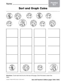 Sort and Graph Coins Worksheet
