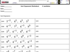 Sort Exponents Worksheet Worksheet
