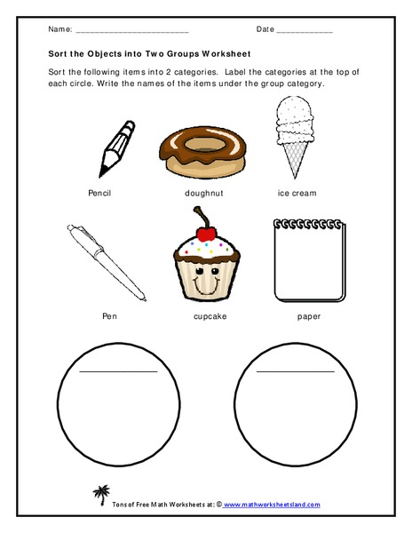 Sorting Objects Worksheet for Kindergarten - 1st Grade ...