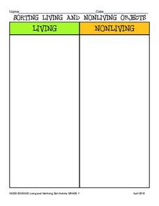 Sorting Living and Nonliving Objects Graphic Organizer