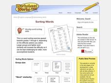 Sorting Words Worksheet