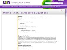 Algebraic Equations Lesson Plan