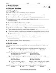 Sound and Hearing Worksheet