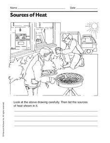 Sources of Heat Worksheet for 2nd - 3rd Grade | Lesson Planet