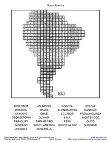 South America Worksheet