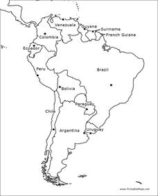 countries in south america lesson plans worksheets Uruguay Capital Map south america outline map