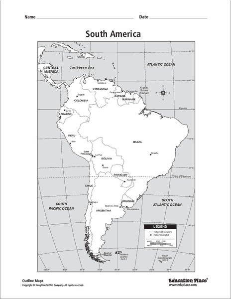 South America Map Graphic Organizer