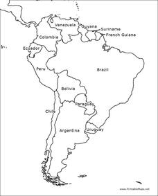 South America Outline Map Graphic Organizer
