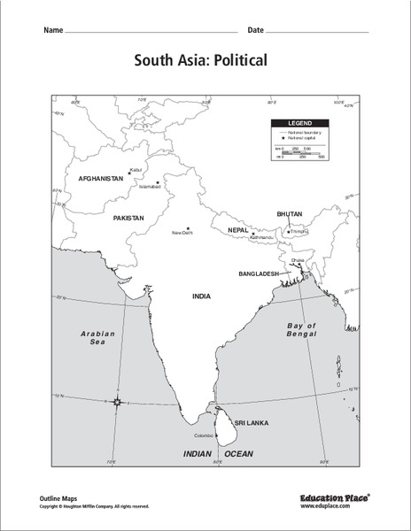 South Asia Political Map Graphic Organizer For 6th 12th Grade