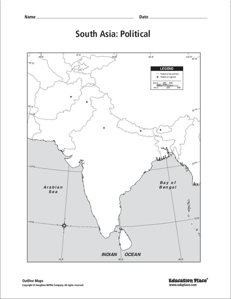 Outline Map Of Asia Political.South Asia Political Map Graphic Organizer For 5th 12th Grade