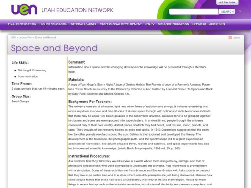 Space and Beyond Lesson Plan