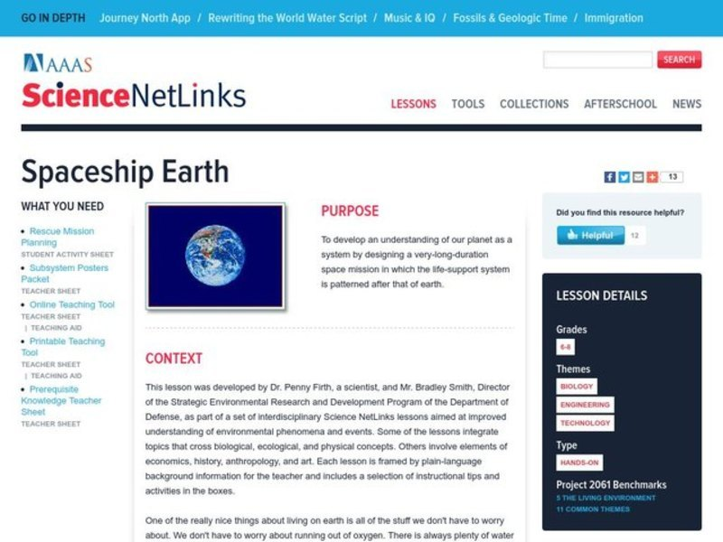 Spaceship Earth Lesson Plan