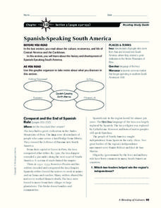 Spanish-Speaking South America Worksheet