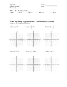 Special Functions Worksheet