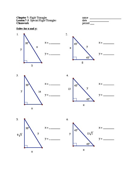 Special Right Triangles Lesson Plans & Worksheets | Lesson Planet