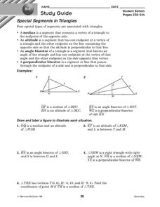 Special Segments in Triangles Worksheet