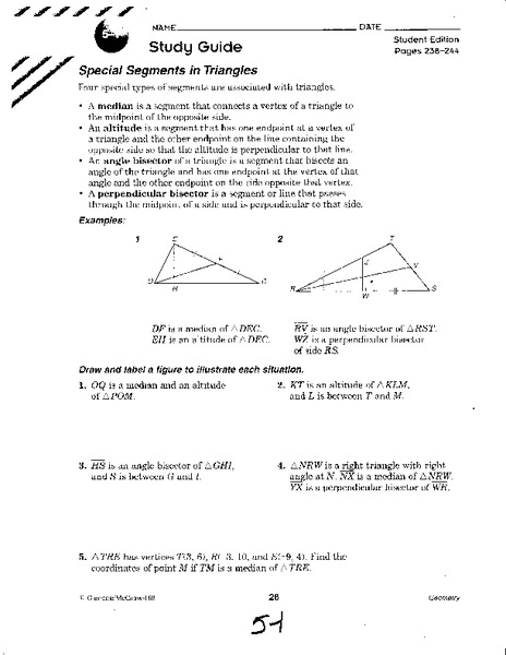 special segments in triangles worksheet free worksheets library download and print worksheets. Black Bedroom Furniture Sets. Home Design Ideas