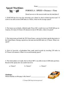 Speed Machines Worksheet