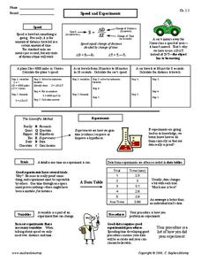 Speed and Experiments Worksheet
