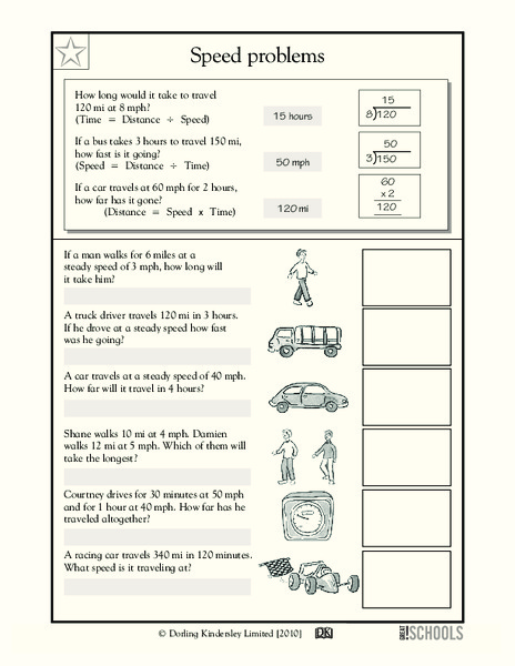 Speed Problems Worksheet