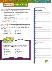 Spelling and Vocabulary Worksheet