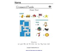 Spelling Crossword Puzzle Worksheet