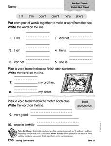Spelling: Contractions Worksheet