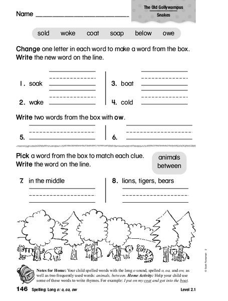 Spelling Long O O Oa Ow Worksheet For 1st 2nd Grade