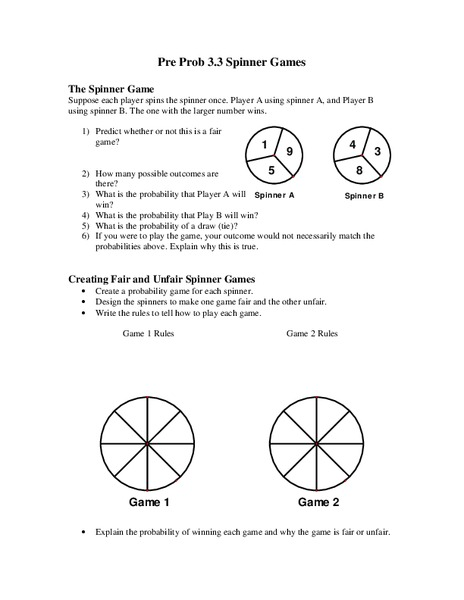 Spinner Games Worksheet for 5th - 6th Grade   Lesson Planet