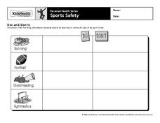 Sports Safety Worksheet
