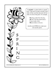 Spring Acrostic Poem Worksheet