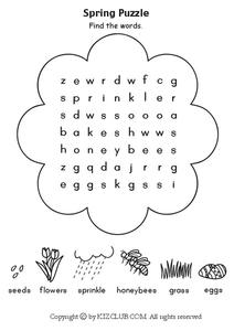 Spring Puzzle Worksheet