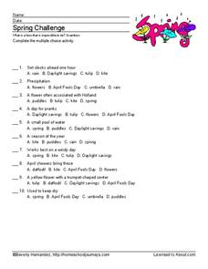 Spring Vocabulary Worksheet