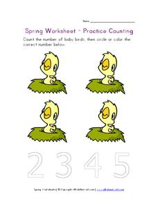 Spring Worksheet - Practice Counting Worksheet